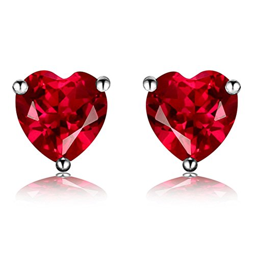 Navachi 925 Sterling Silver 18k White Gold Plated 3.0ct Heart Ruby Az9132e Stud Earrings