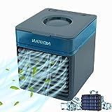 Aire Acondicionado Portatil Silencioso,Mini Enfriador de Aire, Mini Acondicionador de Aire Móvil 4 en 1 Purificador Humidificador Aromaterapia 7 Luces LED 3 Velocidades para Oficina y Hogar (Azul)