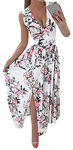 Osheoiso Damen Sommerkleid Lang Schulterfrei Ohne Arm Hohe Taille Maxikleid Casual Elegant V-Ausschnitt Sexy Festkleid Ballkleider Cocktailkleid Party Kleid A Weiß M