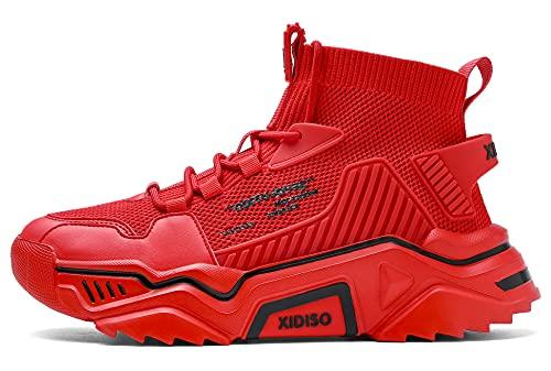 SANNAX Zapatillas de Deporte de Moda para Hombre Altas Hombres Running Zapatos para Correr Gimnasio Sneakers Rojo 43