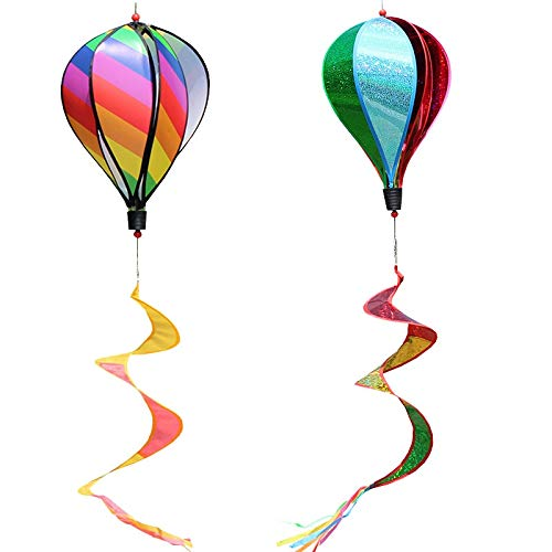 Katigan 2PCS Balloon Wind Spinner Striped Sequins Windsock Balloon Yard Decor Spiral Balloon Windmill