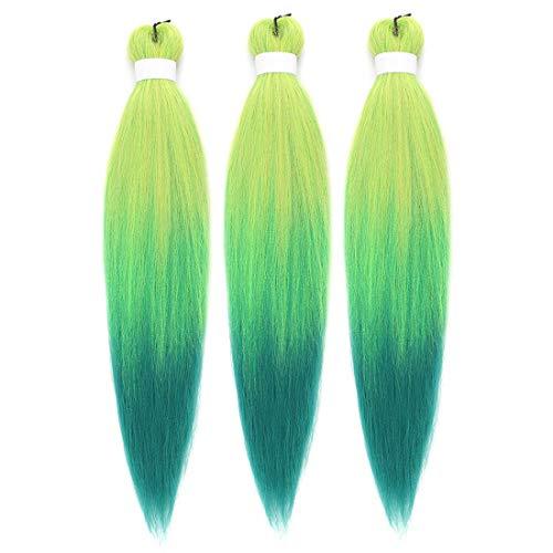 Ombre Green Braiding Hair Pre Stretched Kanekalon Braiding Hair
