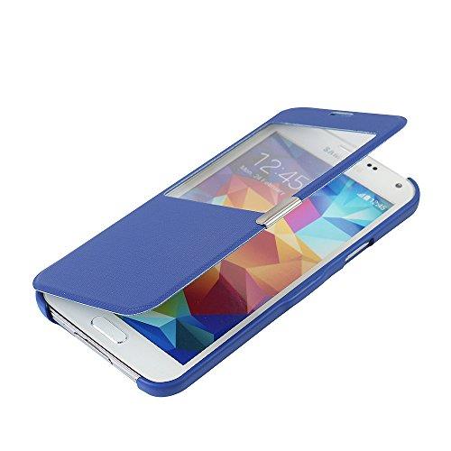 MTRONX pour Coque Samsung Galaxy S5, Case Cover Etui Housse Poche Cas Couverture Fenetre Vue Ultra Slim Folio Flip Magnetic Twill PU Cuir Serge pour Samsung Galaxy S5 - Bleu(MG1-BU)