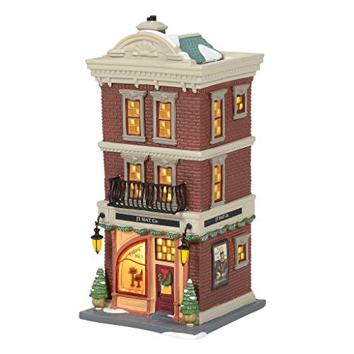 Department 56 Christmas in The City Village JT Hat Company Lit Building, 8.62 Inch, Multicolor