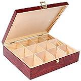 Creative DECO Rojo Caja para Té en Bolsitas Madera   12 Compartimentos   29 x 25 x 7,5 cm   Varias Medidas Disponibless   con Tapa y Cerradura   Ideal para Decoupage, Decoración y Almacenaje