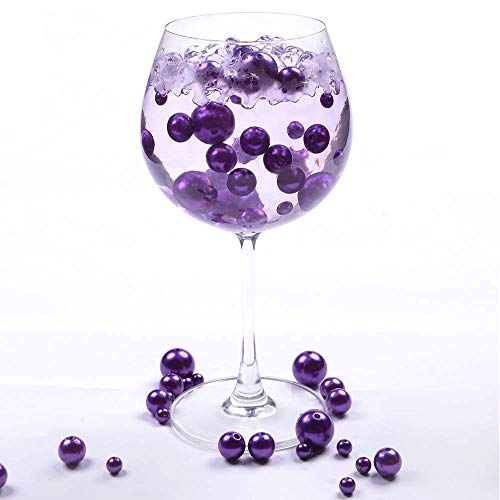 QINGYA 110 pcs Purple Plastic Beads Pearls with 2000 pcs Clear Water Beads - Vases and Centerpieces for Wedding Beads - DIY Vase Fillers Beads