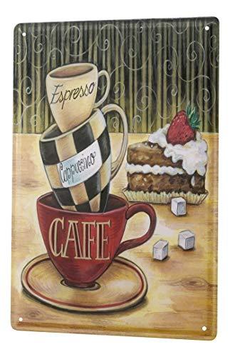 LEotiE SINCE 2004 Blechschild Fun Küchen Deko Kaffee Espresso Cappuccino Metallschild 20x30 cm Vintage Retro Wanddekoration