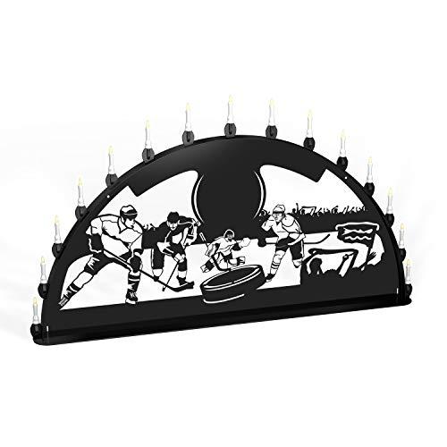 Colours-Manufaktur Außenschwibbogen Schwibbogen Lichterbogen Metall - Motiv: Eishockey - XL 1,2 Meter Breite Außen-Bereich schwarz * groß *
