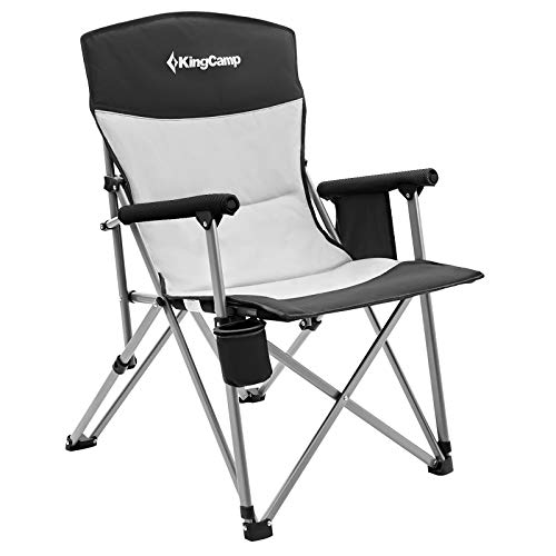 KingCamp Camping Chair Hard Arm Folding Camp Chair High Back Ergonom Outdoor Sports Chair for Adults with Cup Holder, Pocket, for Travel Picnic Hiking, Supports 300 lbs, Black