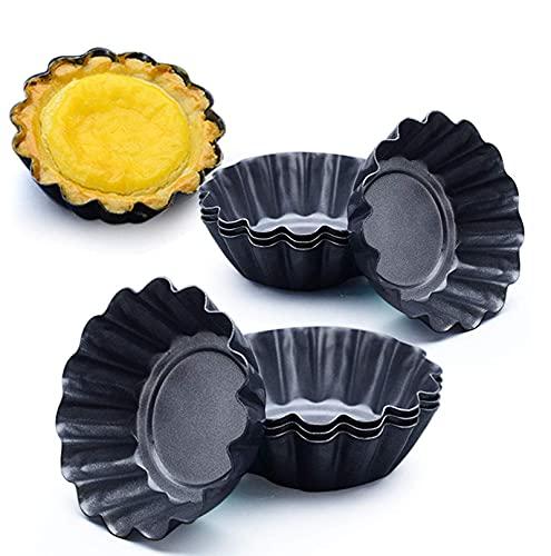 Qikafan YXXJ 15 Packs Egg Tart Mold, Bigger Size 3 x 0.9inch, Cupcake Cake Muffin Mold Tin Pan Baking Tool, Carbon Steel