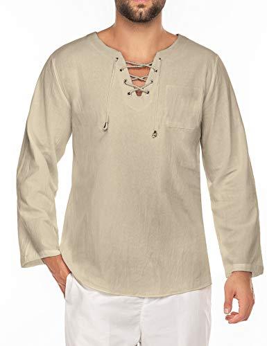 JINIDU Herrenmode T-Shirt Baumwolle Leinen T-Shirt Casual Beach Shirts Langarm Yoga-Top mit V-Ausschnitt (Langarm-Khaki, Medium)