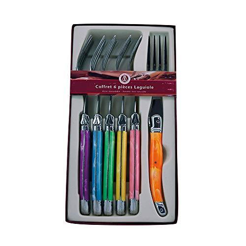 Laguiole Production - Coffret 6 fourchettes multicolores - Couverts de table en acier inoxydable - Set de fourchettes couleurs panachées en ABS - Présentation coffret cadeau