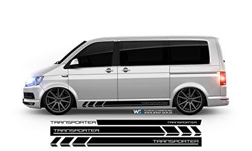 WRAP SKIN Seitenstreifen Set Transporter passend für VW T4 T5 T6 Seitenaufkleber Aufkleber WS-03-08-10028-V 070M Schwarz Matt T6 Langer Radstand