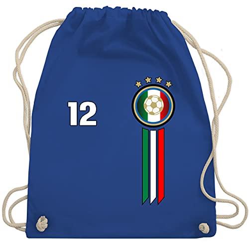 Shirtracer Fussball WM 2022 Fanartikel - 12. Mann Italien Emblem - Unisize - Royalblau - italien turnbeutel - WM110 - Turnbeutel und Stoffbeutel aus Baumwolle