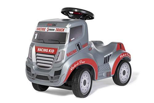 Ferbedo Truck Racing 171194 - Tobogán para bebé con Enganche para Remolque, Volante con claxon Integrado, vehículo Infantil con Hueco para Las Rodillas, Color Gris