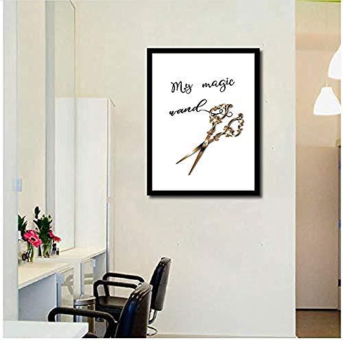 XIANGLL Cuadro En Lienzo,Estilista de Cabello Definición Cita Regalo de peluquería Tijeras Doradas Cartel Salón de Belleza Arte de la Pared Pintura SPA Decoración-40x50cm