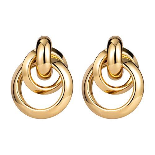 WanXingY Pendientes de Mujer Moda de Moda joyería de Mujer Oro Inusual aro aretes Coreano Retro geométrico Pendientes metálicos (Color : Gold 670)