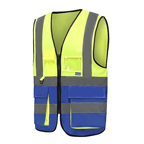 9 kleuren, uniseks, hoge zichtbaarheid, reflecterende vest, ritssluiting. Large geel en blauw.