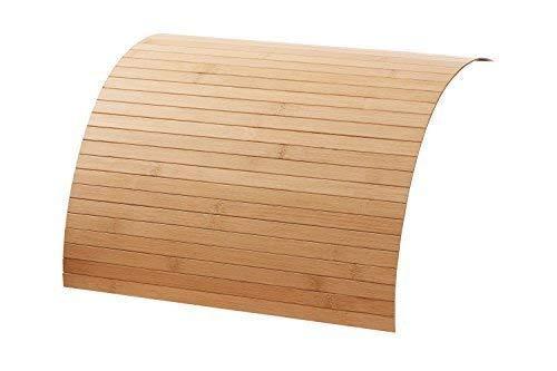 Couch Holz Ablage aus Bambus von DE-Commerce® Sofatablett auf rutschfestem Latex, Flexible Tablett Ablage Sofa für mehr Ordnung und Sauberkeit I Couch Tablett für Armlehne Nature 40 x 60 cm