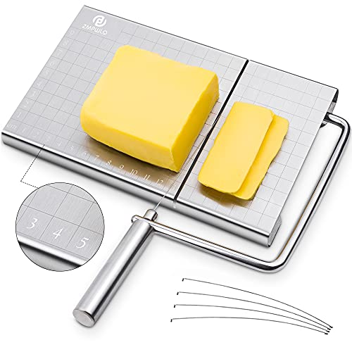 Käseschneider, Käsehobel Edelstahl, Draht-Käseschneider für Käsebutter, Cheese Slicer mit Schneiddraht und Maßstab-Platte, Variable Schnittstärke, Rostfreier Edelstahl - 5 Drähte inklusive -Silber