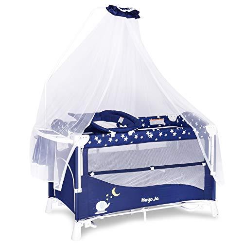 Set di biancheria da letto 3 in 1 a 2 strati, con culla e fasciatoio, centro della scuola materna, box portatile per bambini con cielo stellato