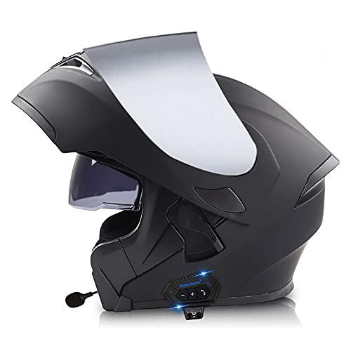 BDTOT Casco de Motocicleta Abatible Casco Moto Modular Dot/ECE Homologado Doble Visera Anti Niebla HD Reducción de Ruido con Altavoz Incorporado para Adultos