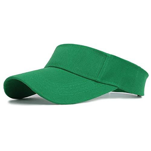 VSDFS Primavera Verano Deportes Gorra para El Sol Hombres Mujeres Visera De Algodón Ajustable Protección UV Top Vacío Tenis Golf Correr Sombrero Protector Solar Verde