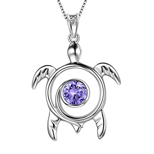 Aurora Tears Turtle Necklace 925 Sterling Sliver Animals Pendant Blue Alexandrite June Birthstone Jewellery Gifts with Cubic Zirconia for Women DP0172D