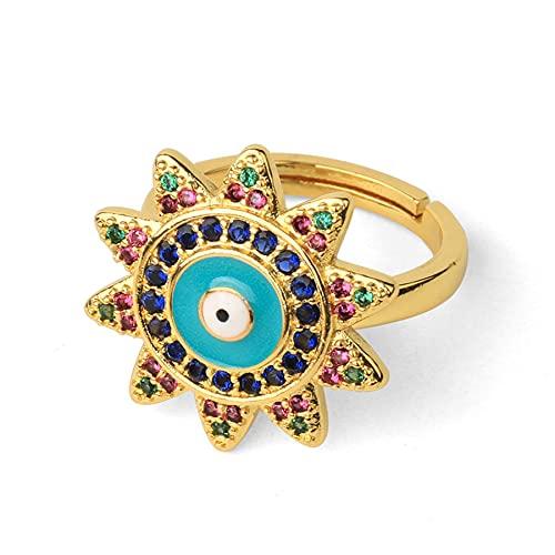 Anillo de apertura de amuleto de ojo del diablo, esmalte, circonita CZ, girasol, anillos de dedo ajustables de color dorado para mujer, joyería de fiesta