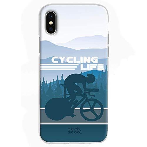 Funnytech Custodia in Silicone (TPU) per iPhone X [Design Esclusivo, Stampa ad Alta Definizione] Cover, Case [Ciclismo Cycling Life Fondo Azul]