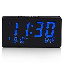 BOCTOP Compact Electronic Digital Alarm Clock with USB Port for Charging, 6 Blue,Adjustable Brightness Dimmer, temperature display, Adjustable Alarm Volume, 12/24Hr, Snooze, Bedroom Desk Alarm Clock.