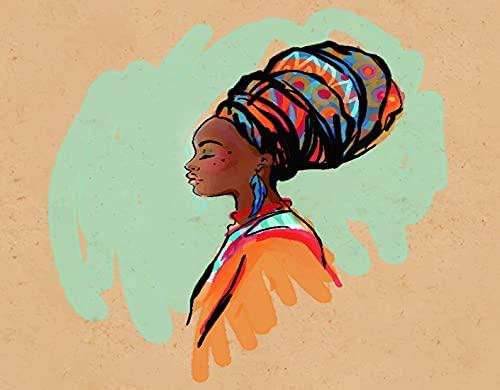 TARTINY Disegno a diamante,Ritratto di profilo acquerello africano di donna nativa con acconciatura etnica e orecchini,Disegno a diamante,decorazione murale pittura diamante 30x40cm