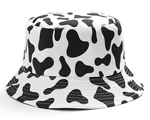 Daisy-Bucket-Hats Reversible Fisherman-Cap Packable Summer Sun Protection (White Cow 1pc)