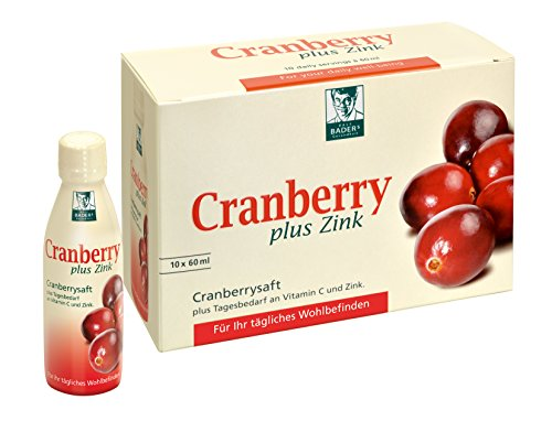 BADERs Cranberry plus Zink. Cranberry juice for a healthy bladder and a strong immune system. Includes your daily requirements of zinc, vitamin C, and B-vitamins. Free from synthetic dyes, lactose- and gluten-free. Vegan. 10 x 60 ml mini drinks.
