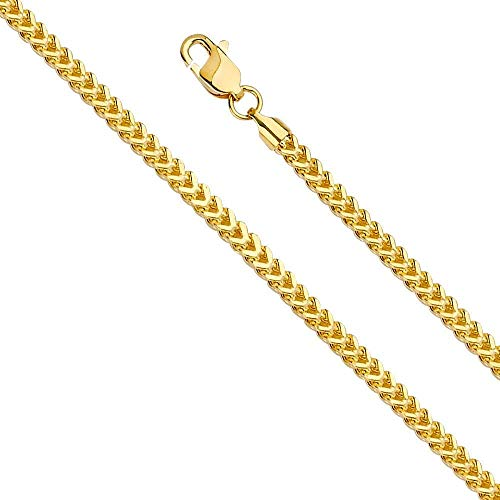 18K Fine Gold Box Franco Chain Pendant Necklace Solid Clasp for Men,Women,Teens Thin for Charms Miami Cuban Link Diamond Cut