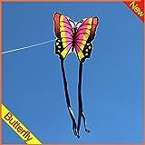 MJC Los niños Kite Cometa, Cometa Niños Diversión Cometas for niños fácil de Volar con Deportes al Aire Libre 3D Azul Rosado Precioso de la Mariposa de la Cometa Brisa (Color : Pink)