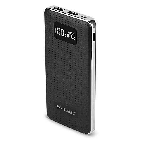 V-tac VT-3526 Powerbank mit Display ? 10.000 mAh ? 2x USB ? Schwarz