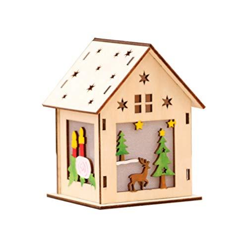 VOSAREA Casette in Legno con Luminoso Ornamenti per Albero di NataleDecorazione Natalizia Grande