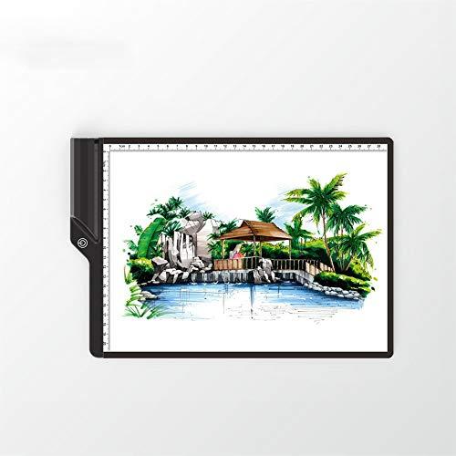 SRMTS LED A4 Light Panel Grafiktablett Light Pad Digitales Tablet Copyboard mit 3-stufiger, dimmbarer Helligkeit zum Nachzeichnen, Kopieren und Anzeigen von Diamantmalerbedarf