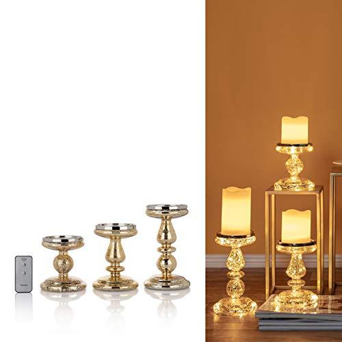 DbKW (Gold/3) 3er Set Kerzenständer/Kerzenhalter mit LED-Beleuchtung und Timer. Wählbar in Gold oder Silber, Geeignet für Stumpenkerzen…