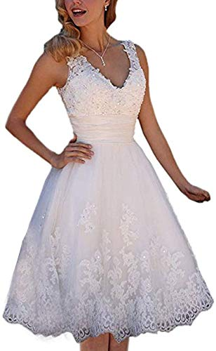 LYDIAGS Kurzes Hochzeitskleid, knielang, Tüll, Strass, V-Ausschnitt, Schnürung, Brautkleid, Vintage-Kleid Gr. 34, weiß