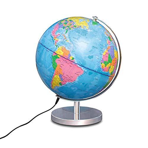 Magellan Albion Leuchtglobus politisches Kartenbild LED-Beleuchtung 25 cm Globus mit messingfarbenem Metallfuß und Meridian inklusive Kabel und USB-Netzteil politisches Kartenbild Silber 25 cm