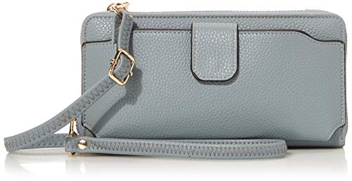 Amazon Essentials Wristlet Wallet with Cell Phone Holder Crossbody Phone bag Women Wallet (Pale blue)