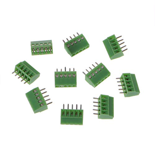JOYKK 10 Pieces 5Pin Screw Leiterplattenmontierte Anschlussblöcke Connector 2.54mm Pitch - Green