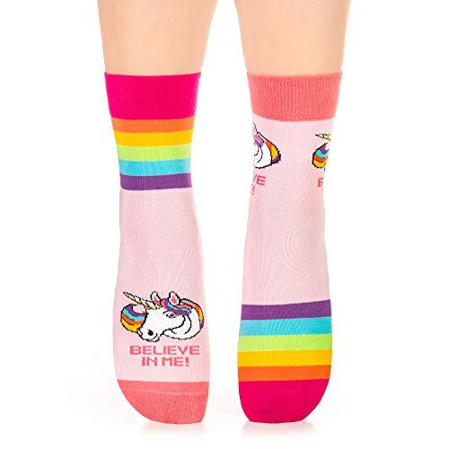 Petsy Lustige Socken für Damen und Herren 35-38 - Baumwolle Bunt Motivsocken mit Spruch - Perfekt Verrückte Geschenke - Einhörner sind echt