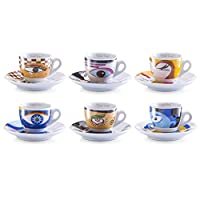 zeller 26510 set tazzine da caffè magic eyes, porcellana, multicolore, 0.1x6x4.7 cm, 12 unità