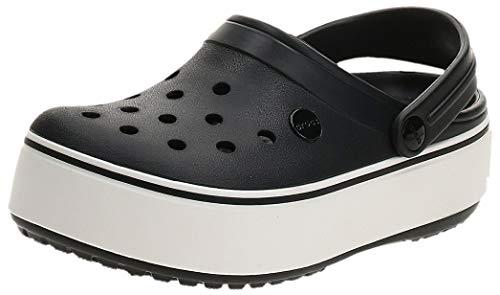 Crocs Damen Crocband Platform U Clogs, Schwarz (Black/White 066b), 34/35 EU
