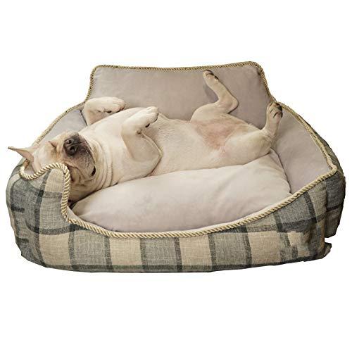 NZAUA Cama de Perro, sofá para Perros, sofá de Perro Grande, Cubierta extraíble y Lavable a máquina, con cojín Reversible Grey-S