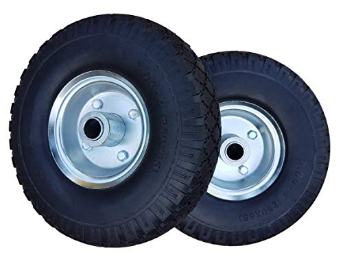2 x Frosal PU Rad Bollerwagen Sackkarre | Ersatzrad | Reifen | 260 mm Pannensicher, 3.00-4 | 20 mm Achse | Sackkarrenrad Stahlfelge silber