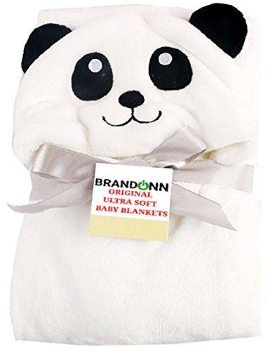 BRANDONN Fashions for Newborn Hooded Designer Premium Quality Ultrasoft Baby Blanket for Babies Cum Baby Bath Towel (White Panda)